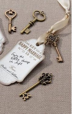 Every guest gets a key and ribbon tag then puts it on a large key ring for the couple to hang??