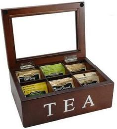 Tea:  Bigelow Wooden Tea Chest. Celebrate the tradition of tea with this contemporary, beautifully crafted wooden storage box with glass lid. This elegant box has six separate compartments to store and preserve your favorite teabag blends.
