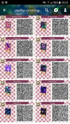 animal crossing qr codes wallpaper home Animal Crossing 3ds, Animal Crossing Wild World, Animal Crossing Qr Codes Clothes, Animal Crossing Pocket Camp, Trippy Designs, Trippy Patterns, Acnl Qr Code Sol, Pastel Galaxy, Galaxy Art