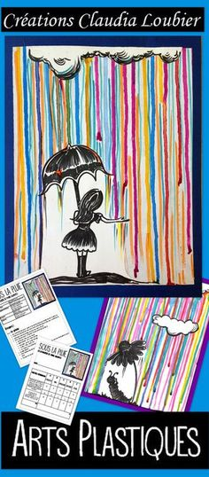 Autumn Art Activity and Lesson Plan for Kids: In the Rain, Spring – Crayons Middle School Art, Art School, High School, Classe D'art, Block Painting, 5th Grade Art, Ecole Art, School Art Projects, Art Lessons Elementary