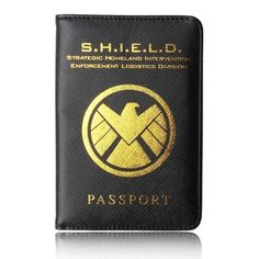 HEQUN Marvel Avengers Passport Cover Rfid Black Pu Leather Hydra Passport Holder Multifunctional Shield Travel Passport Case New.