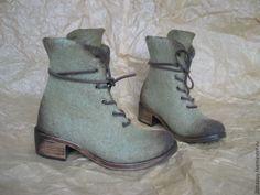 Купить Валяные ботинки Marcella olive pale - оливковый, ботинки женские, ботинки валяные