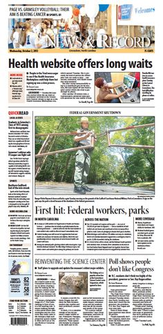 Front page Oct. 2, 2013 www.news-record.com