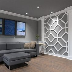 Ekena Millwork in. Large Marion White Architectural Grade PVC Decorative Wall Panels - The Home Depot White Wall Paneling, Off White Walls, Grey Walls, Family Room Walls, Accent Walls In Living Room, Living Rooms, Bedroom Accent Walls, Pvc Wall Panels, Decorative Wall Panels