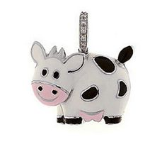 #AARONBASHA 18K WHITE GOLD COW CHARM WITH BLACK SPOTS. This adorable little guy can be found at #WoodrowJewelers.