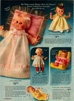 1972 Sears Baby Dolls - none have names except Baby Tweaks which is Horsman
