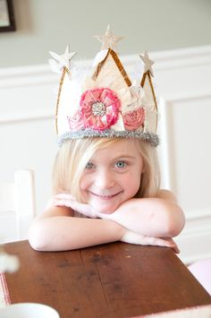 Vintage Inspired Fabric Crown Birthday Party Hat Photography Prop. $44.00, via Etsy.
