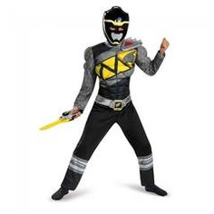 465fe45a5731 Power Rangers - Black Ranger Dino Charge Classic Muscle Boy's Costume Boy  Costumes, Halloween Costumes