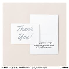 """Shop Custom, Elegant & Personalized """"Thank You!"""" Card created by AponxDesigns. Paper Envelopes, White Envelopes, Thank You Greeting Cards, Appreciation Cards, Silver Paper, Colored Paper, Place Card Holders, Cards Against Humanity, Messages"""