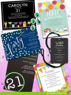 21st Birthday Invitations - Mexican theme, lanyard private invitation, festive lantern invitation, martini and drinks invitation, bottle imprint invitation