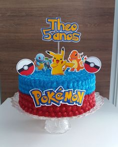 bolo pokemon chantininho #bolo #bolopokemon #pokémon #festapokemon #decoraçãopokemon Pokemon Themed Party, Pokemon Birthday Cake, Birthday Cake For Him, Bolo Pikachu, Pikachu Cake, Pokemon Cake Topper, Cake Toppers, Festa Pokemon Go, Number Cakes