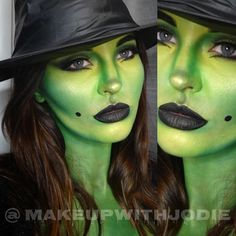 """ Wicked Witch details: I used Mehron paradise paints in lime & green as a base & contoured with the two @Mehronmakeup I applied Makeup Forever HD…"""