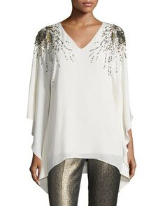 John Collection Hand-Beaded V-Neck Silk Blouse, Alabaster/Gold Cropped Pants, Neiman Marcus, Lace Trim, Luxury Fashion, Tunic Tops, V Neck, Silk, Blouse, Clothes