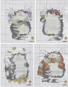 Meu jardim de crochê: Gatos em ponto cruz