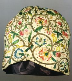 Lady's cap, early 17th century, linen, metal wrapped thread, silk, sequins, M & E Feller, photography by R. Holdsworth FRPS