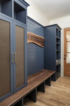 Triple gable European home with delightful details in North Carolina Mudroom Ideas Carolina Delightful details European Gable Home North Triple Mudroom Cabinets, Mudroom Laundry Room, Bench Mudroom, Cabinet Doors, Navy Cabinets, Mud Room Lockers, Entryway Storage Cabinet, Kitchen Cabinets, Home Projects