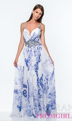 Long Sweetheart Print Formal Gown by Terani at PromGirl.com
