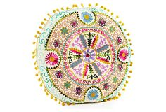 """One Kings Lane - Whimsical Accents - Botany 16"""" Embroidered Pillow, Ivory"""
