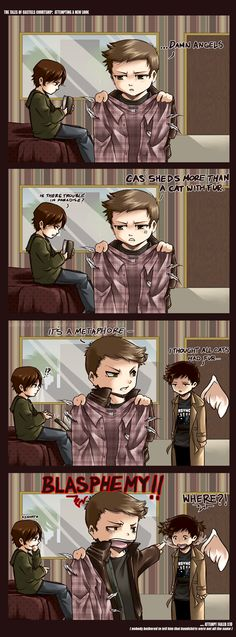 SPN: Attempt Bandshirt by ~Sekra on deviantART I love the look on Cas's face