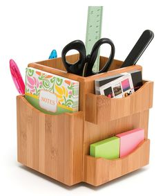 Bamboo Spinning Desk Organizer in Desktop Organizers Pot A Crayon, Bois Diy, Office Supply Organization, Organization Ideas, Diy Desk, Desk Tidy, Dot And Bo, Organizing Your Home, Desk Accessories