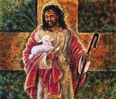 Black Jesus Art - He Walks With Me - Lester Kern