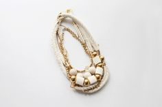 https://flic.kr/p/8Mc82u | cream and gold | self-made necklaces: hand braided cotton rope / natural wood beads / layered metal discs /  riverstone / citrine / vintage lucite / vintage brass components