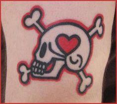 Skull And Crossbones And Heart Tattoo