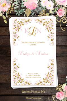 Wedding Program Templates, Printable DIY Order of Service, Blush Pink & Gold Kaitlyn.