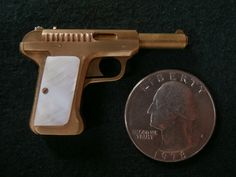 Miniature Savage Pistol, Model 1907,  1/4 scale, single shot, 2mm rimfire - right side  view. See how this miniature gun was made on my youtube channel: https://www.youtube.com/watch?v=HkLCAs0_tXs&list=UUezfF-