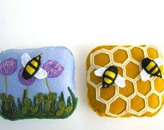 Handmade Montessori Work  Magnetic Wool Felt Bee and by alyparrott, $36.00