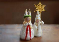 LUCIA SET, Needle Felted, Santa Lucia &Star Boy, Stjarngosse, Saint Lucy, Lucia Tag,Festival, Feast, Xmas, Christmas, Waldorf,Present, White...