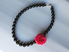 black beads with red rose