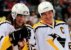 Young Jagr. Delightful picture of him and the great Mario Lemieux sharing a laugh.
