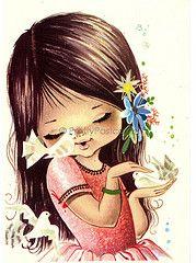c8880de4cc99 Big Eyed Girl Vintage postcard by Gallarda by PrettyPostcards