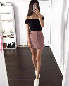 Skirt outfits aesthetic New ideas Beauty And Fashion, Fashion Mode, Korean Fashion, Girl Fashion, Womens Fashion, Moda Fashion, Fashion Trends, Fashion Black, Fashion Spring