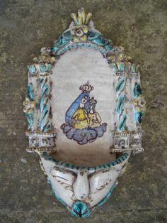 Antica ceramica maiolica Acquasantiera in Arte e antiquariato, Porcellana e…