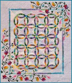 """Flowers for my Wedding Ring, 87 x 100"""",  design by Judy Niemeyer Quilting"""