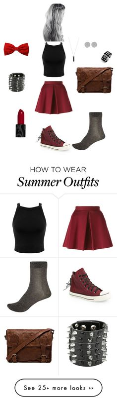 """Red and Black Outfit"" by gcgrahek on Polyvore featuring Miss Selfridge, P.A.R.O.S.H., Converse, River Island, Karen Kane, VIPARO and Waterford"