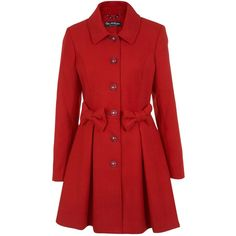Miss Selfridge Bow Detail Coat, Red found on Polyvore