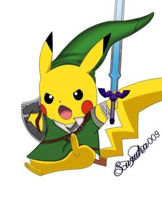 Aww this is a cool cross over artwork Pikachu in Link's clothes :) Pikachu Tattoo, Pikachu Drawing, Pikachu Pikachu, Deadpool Pikachu, Pokemon Halloween, Pokemon Memes, My Pokemon, Zelda Tattoo, Cartoon As Anime