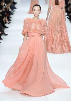 peach elle saab dress fashion
