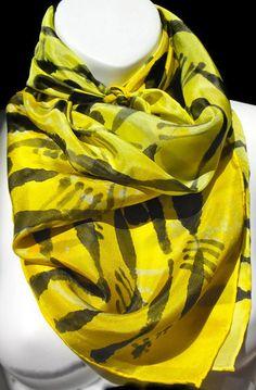 Sun glow Yellow Square SILK SCARF Hand by SilkScarvesJoanReese, $80.00