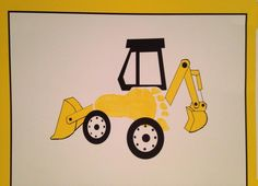 Bentley foot print made into backhoe for truck theme birthday party. Used these as decorations. I took several feet impressions in the colors of the theme party, let them dry, scanned into my computer & designed truck around footprints