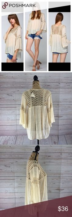 Taupe Boho Crochet Peasant Top Bell sleeves. 100% hand crochet bodice and arm band. 3/4 bell sleeves. Pleated at chest and back. 50% polyester 50% acrylic. Price firm unless bundled. posh on first boutique Tops