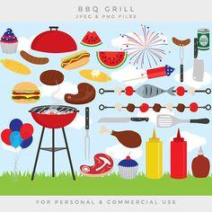 Clip Art Outdoor Bbq Cookout Digital Barbeque