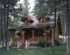 Log cottage with a porch