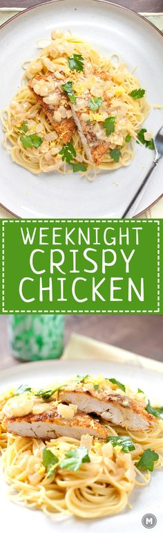 Weeknight Crispy Chicken: This super-simple, under 30 minute dish is perfect for a weeknight. Crispy chicken cutlets with lemon, a simple cream sauce, and angel hair pasta!   macheesmo.com