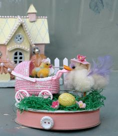 Vintage Easter 1950s Mama Hen and Vintage Baby by saturdayfinds, $25.00