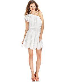 Jessica Simpson Dress, Cap-Sleeve One-Shoulder Lace Tiered - Dresses - Women - Macy's