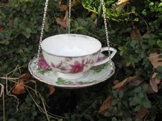 Tea Cup Bird Feeders.  Things you will need: Tea Cups or Mugs and Saucers Old spoons Any pipe--I used conduit (made for burying  electrical wires) cheapest Ends to glue to bottom of saucers. Use Gorilla Glue not Liq Nails.
